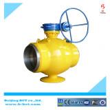 Welding eccentric ball valve with gear worm