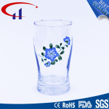 180ml Heat-Resistant Clear Glass Cup with Printed Flower (CHM8105)