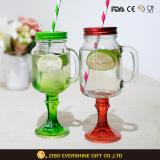 Colored Stem Mason Jar Drinking Glass with Straw Handle