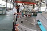 The American customer visits the drip irrigation pipe making machine