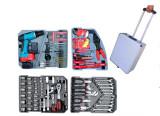 168Pcs Professional alumium case tool set with cordless drill