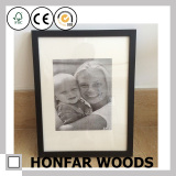 6/26 Modern Black Solid Wood Photo Frame With Mat