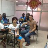 Kevin having business negotiation with medical delegation from Ivory Coast