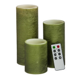 Green Pillar Flameless Electronic LED Candle for Home Decoration