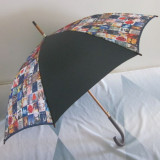Cartoon and dark fabric cover straight wooden umbrella
