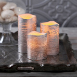 Silver Flameless LED Battery Candles with 8 Key Remote