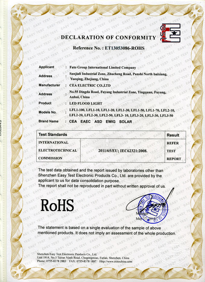 Rohs for LED Flood Light