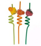 pvc crazy straws ,various shape,with plastic fruit on the up side