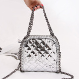 Mirror Rhombic Pattern PU Women′s Handbag