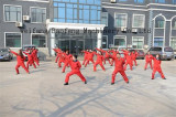 Doing morning excercise in front of our office building
