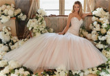 Mori Lee Light Pink Sweetheart Mermaid Satin Lace Tulle Morilee Wedding Dress (Dream-100037)