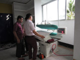 Bangladesh hospital laundry equipment press ironer