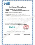 RoHS Certificate for Tact Switch TS-1102 Series
