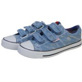 Best Quality Blue/Colorful Velcro Style Denim Canvas Shoes for Women/Men
