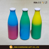 Color Round Glass Milk Bottles for Drinking with Lids