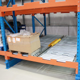 gravity pallet rack for electrical parts storage