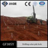 GF385 pile drilling rig is drilling solar pile hole
