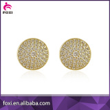 round shape micro pave stud earring