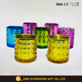 Colorful Embossed Glass Candle Holder