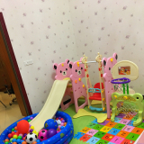 Bear style plastic slide and swing set--Pink