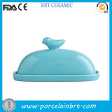 Bird on Lid Beautiful Creative Ceramic Butter Dish