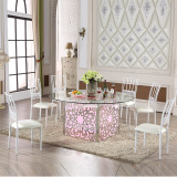 LED Light Stainless Steel Table and Chairs for Wedding