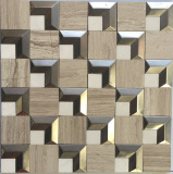 Grey Natural Stone Mixed Stainless Steel Mosaic for Wall Cladding (FYSM104)