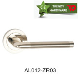 aluminum door handle on square rosette