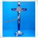 Height St. Benedict′s Stand Metal Crucifix / Standing Metal Crucifix