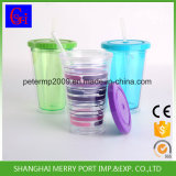 Customized BPA Free Plastic Tumbler with Straw and Lid