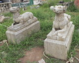 antique stone dog carving