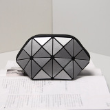 Rhombic Geometry PU Silver Coin Purse Wallet