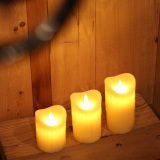 Yellow Tear Waved Pillar Flameless LED Candle with Remote and Timer