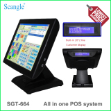 """Stylish 15"""" All in One Touch Screen POS System with 8bits VFD Customer Display for Restaurant"""