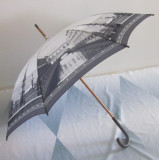 Chinese ink painting style wooden shaft straight umbrella ideal for gift