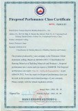 Fireproof Perfomance Class Certificate