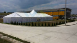 12m High Peak Party Tent with 1/2 hexagonal end and central peak to Europe