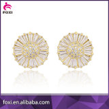 brass gold plated round shape earring