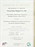 Yuyao Keke Magnet Co., Ltd. Certificates