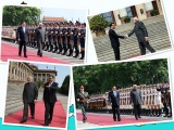 Li held a ceremony to welcome India′s prime minister, Mr Modi′s visit to China