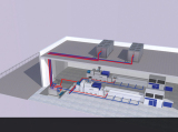 Air cooled chiller for extrusion line with underground tank