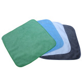 Microfiber towel with straight edge and round corner