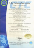 Certificate of Environmental product certification