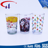200ml Super Quality Glass Cup with Printed Flower (CHM8139)