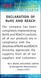 DECLARATION of RoHS and REACH