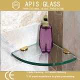 Tempered Bathroom Glass Shelf with Polished Edge