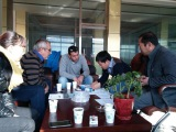 Disussing with our customers in office about machine design