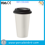 Ceramic Double Wall Coffee Mug with Silicone Lid