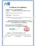 RoHS Certificate for Waterproof Tact Switch TS-1142RT(16.3H160GF)