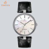 Quartz Stainless Steel Watches Ladies Leather Strap Luxury Women Wrist Watch 71009